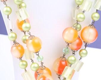 Stunning Fruit Salad Necklace, Vintage 1950s