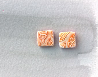 Orange feathers square tiles stud earrings. Faux Ceramic technique. Australian handmade . Hypoallergenic