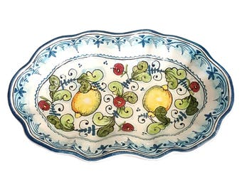 Italian Ceramic Art Pottery Serving Bowl Tray Plate Centerpieces Decorative Lemons Hand Painted Made in ITALY Tuscan  sc 1 st  Etsy & Italian Ceramic Wall Clock Decorated Sun Hand Painted Made in