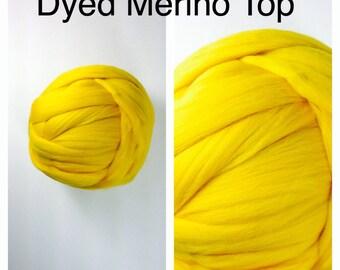 Lemon Merino Top  / Dyed Merino Roving / Yellow Merino Spinning / 2oz 4oz 8oz