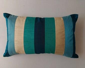 turquoise blue, ivory, teal blue, aqua blue stripe  pillow. decorative lumbar  pillow. Long  silk cushion cover  12x20 inches