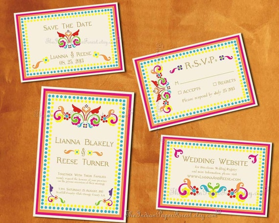 Boho chic rustic rangoli indian wedding save the date card stopboris Images