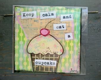 "SALE! Whimsical Print, 8"" x 8"" Cupcake Print, Whimsical Art Print, Mixed Media Print, Sale Print, Whimsical Cupcake, Keep Calm Cupcake"
