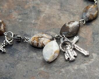 Gemstone Rosary Bracelet of Brioche Agate Diamonds, Catholic Bracelet, Single Decade Rosary, 1 Decade Chaplet, Religious Jewelry