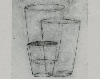 Layered Cups-Paper,Etching,art,printmaking,gift,artwork,etching print,original artwork,art,printmaking print,abstract etching,sale,art sale