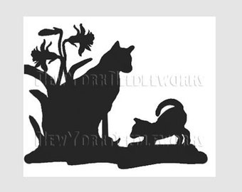 Cats Silhouette, Cats Cross Stitch, Cats Pattern, Cats, Cross Stitch Pattern, Silhouette, Needlepoint Pattern  by NewYorkNeedleworks on Etsy