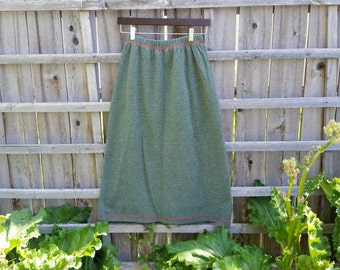 Vintage Green Skirt with Contrasting Red Thread