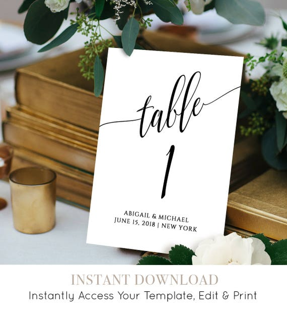 Wedding Table Number Card Template, Calligraphy, Editable, Printable, Instant Download, DIY Table Seating Card, 4x4 and 5x7, #020-112TC