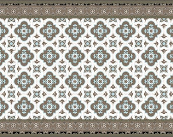 Vinyl Vloer Coupons : Area rug vinyl floor mat with grey leaves printed pvc area