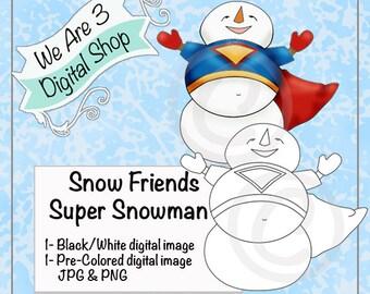 We Are 3 Digital Shop, Super Snowman, Digital Stamp, Winter, Christmas