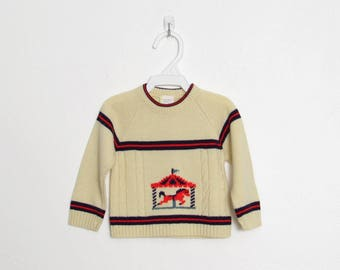 Infant Novelty Sweater / Creme Acrylic Knit / Blue and Red Stripes & Carousel Horse / Vintage Baby Boy's Pullover / Size 12 months