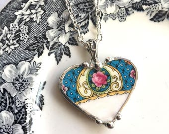 Dishfunctional Designs Broken china jewelry - heart pendant necklace - antique Victorian - pink rose on vibrant blue - beautiful