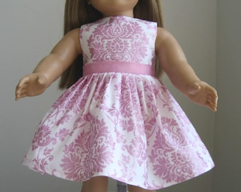 Doll Clothes-Made  For  AMERICAN GIRL DOLLS, Pink and White Damask Print Dress Fits American Girl Dolls, Fit American Girl Dolls