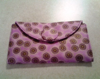 Lavender Oriental Wallet with Purple Sparkles Inside-W110