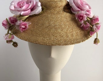 Natural Bergere Sun Hat with Pink Silk Roses for the Derby or Special Occasion