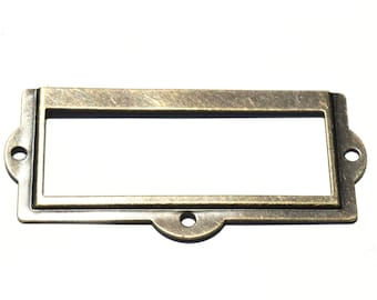 4-12 ANTIQUE BRASS Label Holders-Choice of 4-12-Metal Antique Brass-Office Organization-Matching Screws Included-LH002