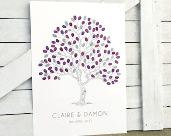 A2 Fingerprint Tree Wedding guest Book. Twisted Tree + 2 Ink Pads & 1 pen. Suitable for 80-120 guests. Customised. FREE delivery Australia