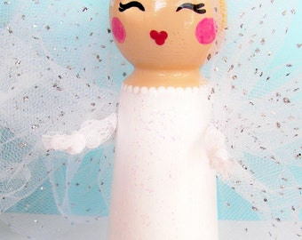 Hand Painted Love Boxes Guardian Angels White Peg Doll Wood