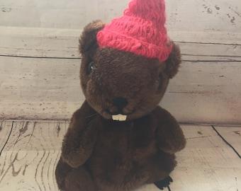 Vintage R. Dakin Beaver Plush, Red Knit Cap Hat, 1985, Brown, Stuffed Animal, 10 Inch, Plushie, 1980s Toy, Children's Vintage Toy, Dakin Toy