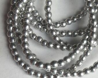3mm Opaque Silver  round Czech Glass Druks