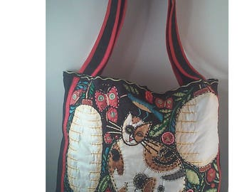Quilted Cat Grocery Bag