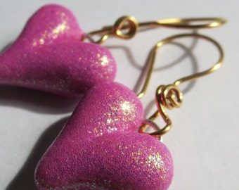 BUBBLEGUM. Glitter Pink Polymer Clay Puffy Heart Earrings. Hand formed 20 Gauge 24K gold plated ear wires
