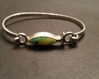 Mexican Silver Bracelet Taxco TR-09 Mexico 925 Sterling Colorful Stone Inlay