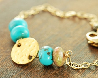 Turquoise Autumn Jasper Bracelet in 14k Gold Fill, Rustic Boho Gemstone Bracelet, December Birthstone Jewelry
