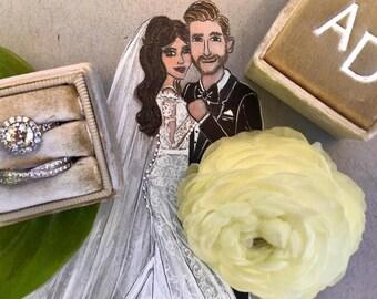 Custom Original Bridal Illustration - Wall Art - Bridal Illustration - Contact for Custom - Personalize - Wedding - Bridal Couple