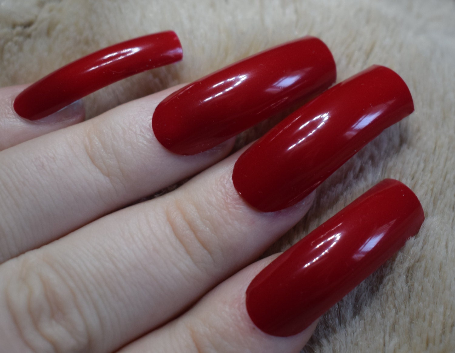 Bright Red Fake Nails, Long Curved False Nails, Hand Painted And ...