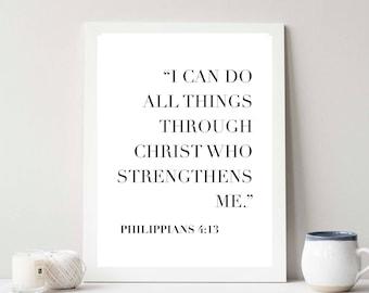 I Can Do All Things Through Christ...  Print // Minimalist // Wall Art // Typography // Fashion // Scandinavian // Boho // Office