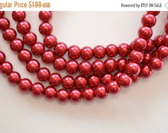 30% off SALE 8mm, Red Glass Pearls, Glass Pearl Beads, 20 Beads, Pearlized, Round, Red, 8mm, hole: 1.5mm