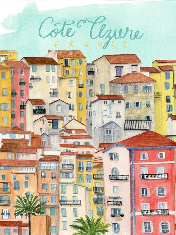 Cote d'Azure, France Travel Poster art print of an original watercolor illustration