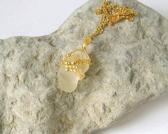 Clear Sea Glass Pendant, Freeform Seed Beads Pendant, Golden Glass Pendant, Boho Gold Pendant, OOAK Boho Style Pendant, sea glass necklace