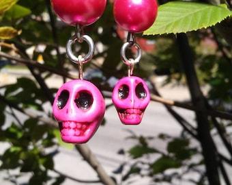 Pink Pearl and Skull Earrings