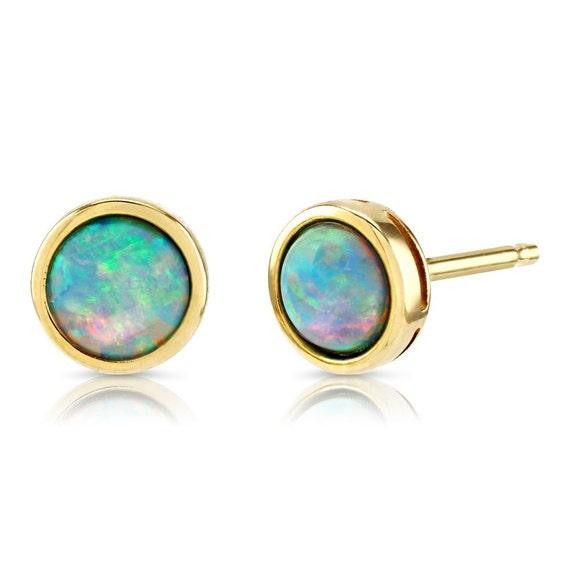 Opal Earrings, 9ct Gold, 10x8mm Teardrop Shape