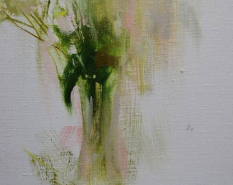 White Floral Painting Flower Oil Painting Still Life Art, Modern Oil Painting Flowers in a Vase