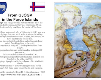 10 Post cards with Watercolor painting copy from the beautiful village GJÓGV in the Faroe Islands .