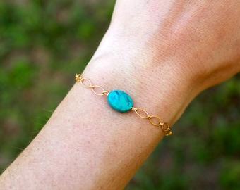 Genuine Turquoise Bracelet, Gold Fill, Sterling Silver, Dainty Turquoise Bracelet, Chakra Bracelet, Healing Stone, December Birthstone