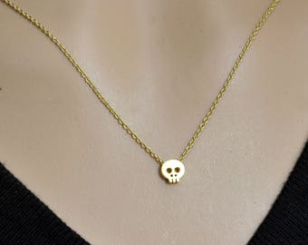 Tiny Skull Necklace, Gold Skull Necklace, Delicate Charm Necklace, Dainty Simple Everyday, Graduation Gift, Back to School