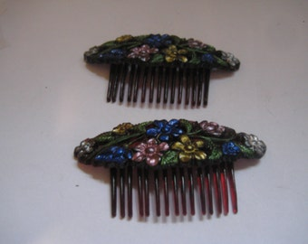 Goody Kant Slip Plastic Hair Comb with Enameled Flowers on Top Pat No 2113546