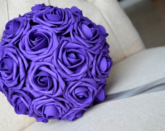 PURPLE kissing ball. Flower Ball. Pomander. Premium Real Touch Roses. Flower Girl. Wedding Centerpiece. Wedding Decor.