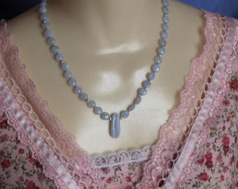 Blue Chalcedony, Sterling Silver & Blue Lace Agate Bead Necklace