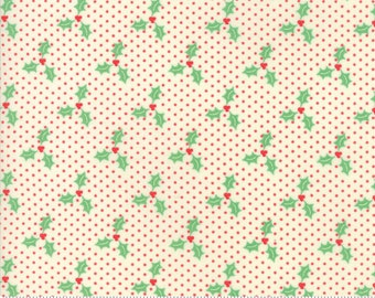 Swell Christmas by Urban Chiks for Moda, #31126-22, Holly on Red Dot, Christmas Fabric, Christmas in July, IN STOCK