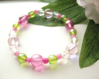 Girls Bracelet Pink and Green, Medium, GBM 170