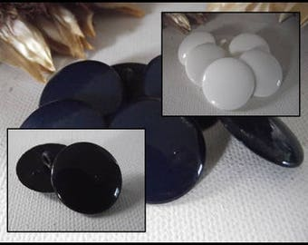 8 buttons gloss white or Navy or black * 22 mm * Grand * 2.2 cm blue black white button