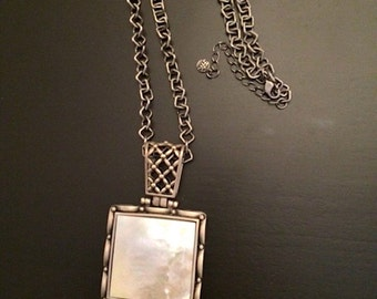 Vintage Necklace, Butler / FAC Pendant on Chain, Metal and MOP