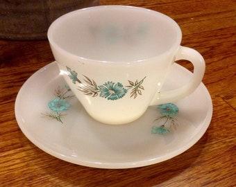 Vintage Fire King tea Coffee Cup & Saucer Bonnie Blue Flower