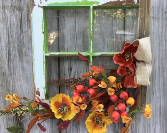 Antique Window with Fall Floral, Autumn Decor, Fall Decor, Fall Wreath, Fall Floral Arrangement, Window Floral, Antique Window, Free Ship