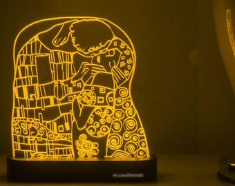 Kiss (Klimt) -  acrylic lamp with 20 color backlight, gift, light interior design, LED night light, love,  painting, free shipping